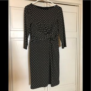 The Limited black ruched dress w/ white polka dots